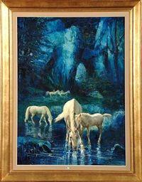 Caballos blancos en el rio de Alfredo Palmero