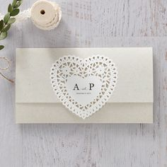 Vintage Kraft Wedding Invitations with White Lace Heart - BH 5012