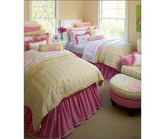 Pink and yellow bedding