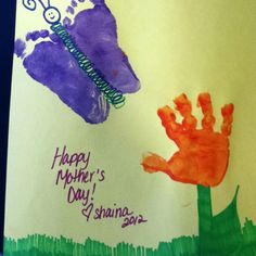 Mother's Day/Father's Day hand/footprint flower and butterfly picture