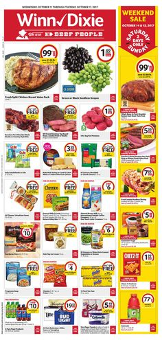 Explore the Winn Dixie ad here! Isn't the Winn Dixie circular next week posting yet? We're posting Winn Dixie ad for next week and Winn Dixie bogo ad a few days before the deal issues. Winn Dixie Weekly Ad, Split Chicken Breast, Mad Ads, Grocery Deals, Green Grapes, Weekly Ads, Meal Deal, October, Food