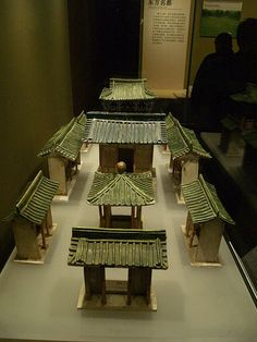 A sancai (tri-colored) ceramic mansion from the Tang Dynasty (618-907), excavated from a Tang era tomb at Zhongbu village in the western suburbs of Xian.
