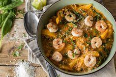 Shrimp-Curry-Pfanne mit Spinat - leicht, lecker, low carb!
