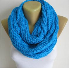ON SALE  blue scarf-Chunky Knit Scarf  crochet by SmyrnaShop