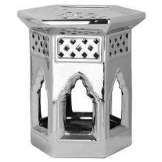 Safavieh Paradise Garden Silver Ceramic Garden Stool | Overstock.com $120