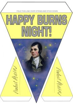 Printable Burns Supper Decoration - Coloured Bunting:  Rooftop Post