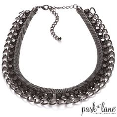 """BEL-AIR NECKLACE  Adorn your neckline with this chic mix of three necklace layers in one. A flexible hematite coil, a strand of faceted jet gems and a hematite link chain join to make a glamorous statement necklace. (14 ½"""" +4"""")  - See more at: https://parklanejewelry.com/store/product/bel-air-necklace#sthash.sjMhHnSi.dpuf"""