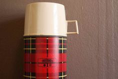 We had a plaid one when I was a kid...back in the 50's. It had a glass liner that was silver