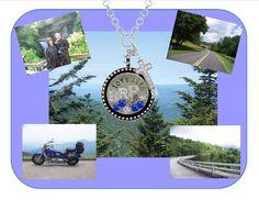 Origami Owl Blue Ridge Parkway motorcycle biker theme locket Order online at http://Myowlstory.origamiowl.com Follow me on Facebook at Facebook.com/origamiowlbymyowlstory