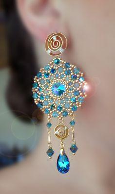 Earrings Serena Di Mercione Creation Beaded Rings, Beaded Jewelry, Diy Jewelry, Handmade Jewelry, Fashion Jewelry, Jewelry Design, Jewelry Making, Beaded Necklace, Jewellery