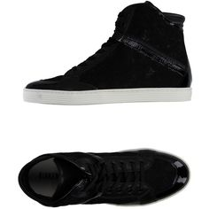 Bikkembergs High-tops & Trainers ($120) ❤ liked on Polyvore featuring shoes, sneakers, black, black high top sneakers, high top shoes, black flat shoes, black trainers and round cap