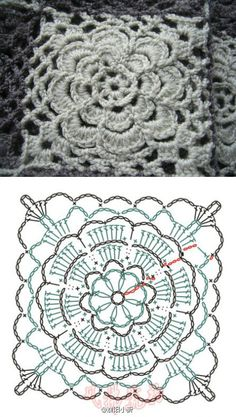 Would be great for lots of stuff. I'm so glad I can read patterns and graphs MaisWeven Arts in Crochet: Squares Fofos naar Beautiful Parts and Graphics Create!Delicate flowered crochet square pattern but in foreign languageCrochet Flower Square with Crochet Squares, Point Granny Au Crochet, Crochet Blocks, Granny Square Crochet Pattern, Crochet Diagram, Crochet Chart, Crochet Motif, Crochet Designs, Crochet Stitches