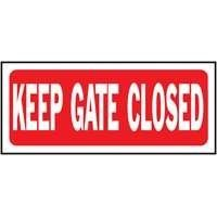 "Hy-Ko Products Co 23008 Plastic Sign Keep Gate Closed (Pack of 5) by Hy-Ko. $22.99. ""HY-KO"" PLASTIC SIGN. Red background with white font. ""Keep gate closed"". .050 MIL thickness polyethylene. Size : 14"" x 6"". ""HY-KO"" PLASTIC SIGN Size : 14"" x 6"" ""Keep gate closed"" .050 MIL thickness polyethylene Red background with white font"