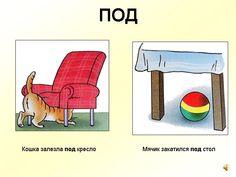 De kat kroop onder de stoel. De bal rolde onder de tafel.
