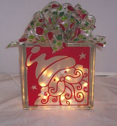 christmas decorated glass block santa face - Glass Block Christmas Decorations