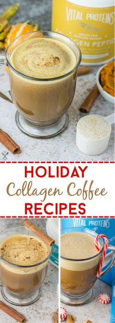 Coffee with collagen - the best holiday coffee recipes with simple ingredients, and a power supplement. All paleo, dairy free, and naturally sweetened,