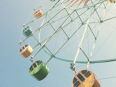 Amusement park rides in the warm afternoon...