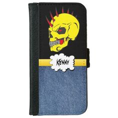 Sugar Skull with denim iPhone 6 Wallet Case This fun & festive wallet I phone case features a yellow skull with red horns protruding out the top. The head has black and red eyes. And a yellow line going into a white speech bubble .You can put your name in the bubble. And on the bottom of the wallet case it is blue denim texture. This is from the Day of the Dead also know as Dia de los Muertos sugar skulls on a png file. So you can change the background color by click the Customize button....