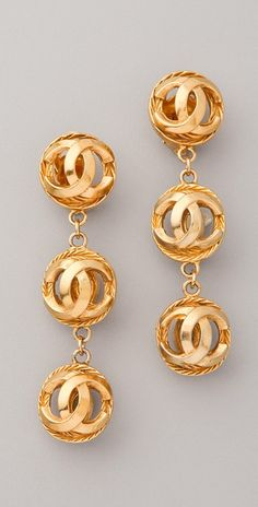 These vintage Chanel earrings are so spot on! Vintage Chanel Earrings, Chanel Vintage, Chanel Jewelry, Jewelry Box, Vintage Jewelry, Jewelry Accessories, Fashion Accessories, Fashion Jewelry, Fall Jewelry