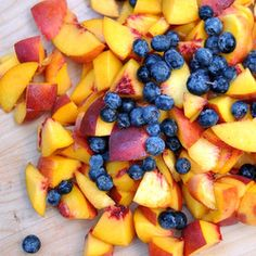 A simple blueberry peach crisp that is packed with great fruit flavor!