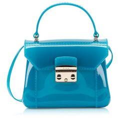 Furla Designer Handbags Candy Turquoise Bon Bon Mini Crossbody ($180) ❤ liked on Polyvore featuring bags, handbags, shoulder bags, purse crossbody, shoulder strap bags, purse shoulder bag, handbag purse and furla handbags