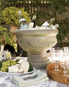 Great idea. Classical planter as a beverage cooler.