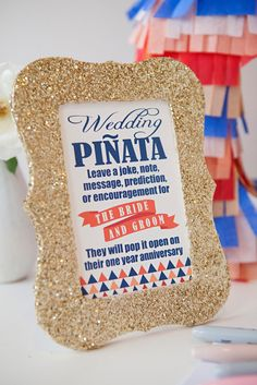 DIY Wedding // How to make a unique piñata guest book with 4 FREE sign printables!