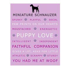 Miniature Schnauzer Dog Poster Print Wall Art by Print Street