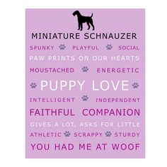 Miniature Schnauzer Dog Poster Print Wall Art by Print Street