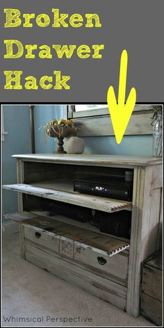 This is such a smart hack for continuing to use a dresser even if the drawers are broken.