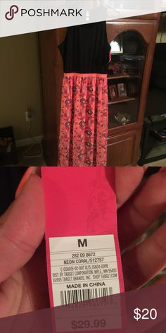 Maxi dress Black and neon pink/coral maxi dress Mossimo Supply Co Dresses Maxi