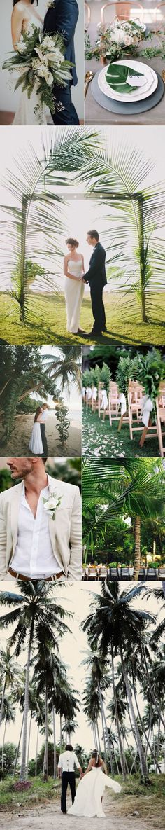 Capture all the botanical beauty you can handle by creating a wedding in a palette of whites, blacks, tans and palm leaf greens. There is a tropical allure to a wedding in palm leaf green that is swoon worthy. Wouldn't you agree?