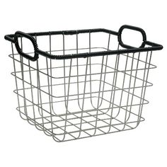 Wire Milk Crate - Room Essentials™ at Target. Decorative Storage Bins, Wire Storage, Cubby Storage, Storage Baskets, Storage Crates, Wire Crate, Power Coating, Copper Handles, Basket Organization