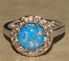 fire opal Cz ring gemstone silver jewelry Sz 6.5 chic cocktail engagement U87 #Cocktail