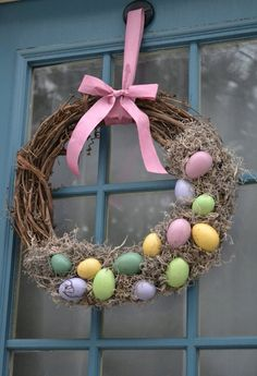 "18"" Grapevine Easter Wreath Moss Wreath, Tulip Wreath, Vine Wreath, Floral Wreaths, Deco Wreaths, Easter Bunny Decorations, Easter Wreaths Diy, Easter Ideas, Easter Candy"