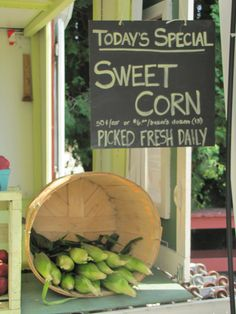 farm stands... Corn is at its best right now fromTaber Corn in Alberta to British Columbia sweet corn . Yum !