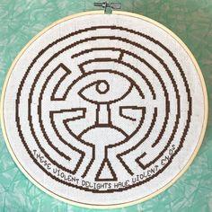 westworld maze cross stitch pattern