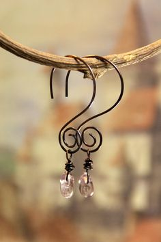 Hammered Copper Swirly Hoops with Amethyst by AllowingArtDesigns, $16.00
