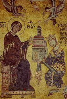 Mosaic, William of Sicily offers the Church to the Mother of God,   1180-94. Cathedral of Monreale Sicily.   This is one of an extraordinary series of mosaics executed between the 12th and the 13th centuries by local craftsmen as well as Venetians, and possibly also Greek-Macedonians. During the Norman reign, Greek, Muslim, and Latin masters devoted themselves to the arts; works bear scripts in all three alphabets, and also in Hebrew