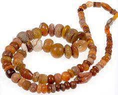 Ancient Carnelian Neolithic Beads Necklace Strand Mali by KAZAART