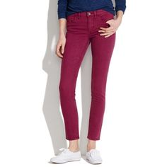 """Skinny Skinny Ankle Jeans in Dusty Burgundy NWOT - Super slim and superstretchy fit, flatteringly cropped at the ankle. From a pet & smoke free home. •Sit at hips. •Fitted through hip and thigh, with a slim leg. •Leg opening: 10 1/2"""". •Inseam: 28 1/2"""". •99% cotton/1% spandex. •Machine wash. Madewell Jeans Skinny"""