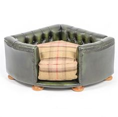 Burton Corner Chesterfield in Antique Green Leather Image