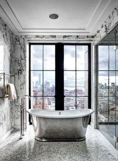 Home Interior Design — Silvered, free-standing bathtub overlooks. Home Interior, Bathroom Interior, Interior Design, Design Interiors, Bad Inspiration, Bathroom Inspiration, Dream Bathrooms, Beautiful Bathrooms, Luxury Bathrooms