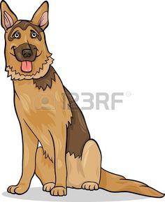 Ilustraci n de dibujos animados divertido del perro de pastor alem n de pura raza Foto de archivo