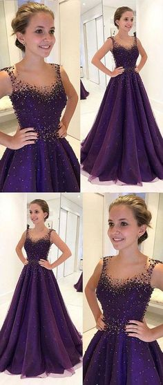 d1e8482b5d6 dark purple A-line beaded long prom dress for girls