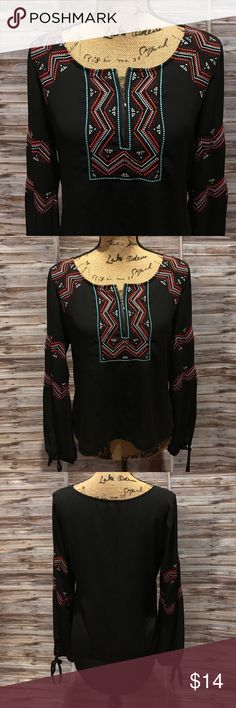 My Michelle Blouse My Michelle Blouse- size LG- black with multi color embellishments on chest, shoulder and arms- zipper on the front. My Michelle Tops Blouses