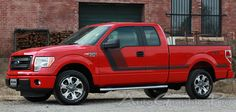 """2009 - 2014 Ford F-150 """"QUAKE SIDES"""" Factory Tremor FX Style Hockey Stick Side Vinyl Decal Graphic Stripes fits 163.1 inch wheelbase or less"""