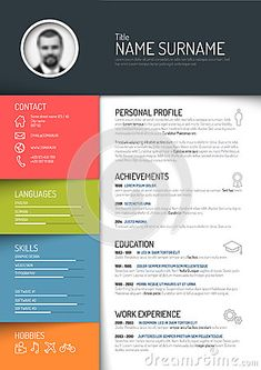 Photo About Vector Minimalist Cv / Resume Template   Dark Color Version    50832935