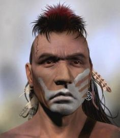 Indian warrior with his face painted puzzle