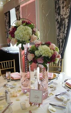 Interesting crystal chain in vase centerpieces Wedding Bridesmaids Photos on WeddingWire